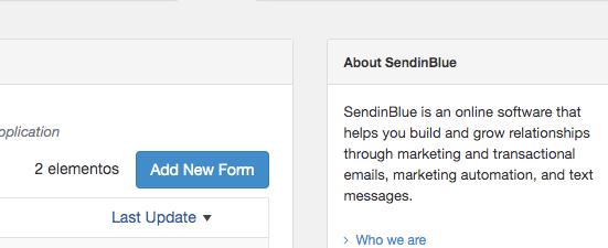 Añadir un formulario nuevo de subscripción a sendinblue