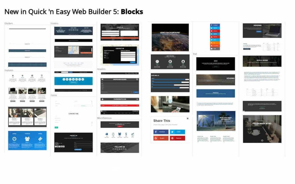 bloques en quick n easy web builder