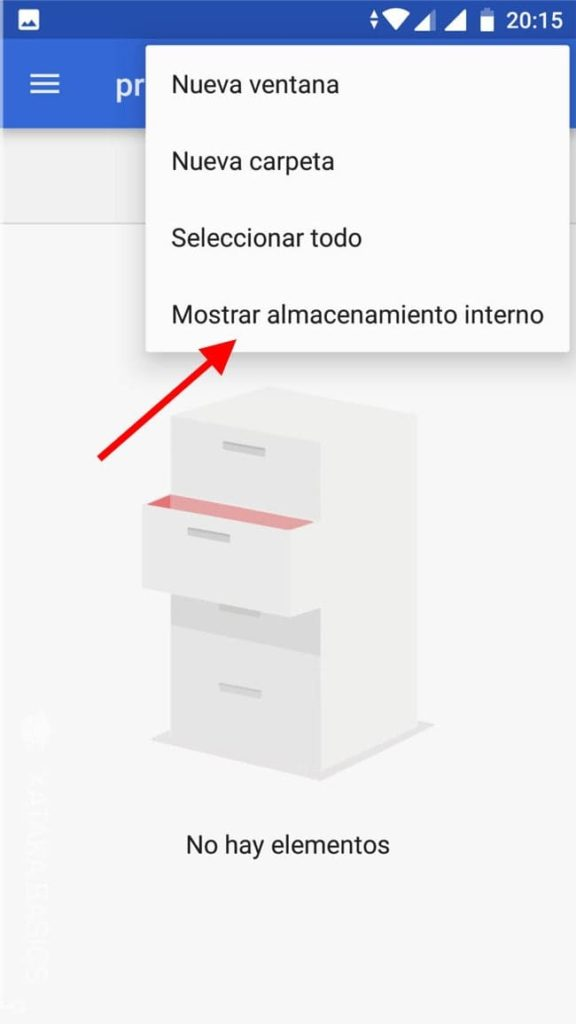 buscando el almacenamiento interno de android
