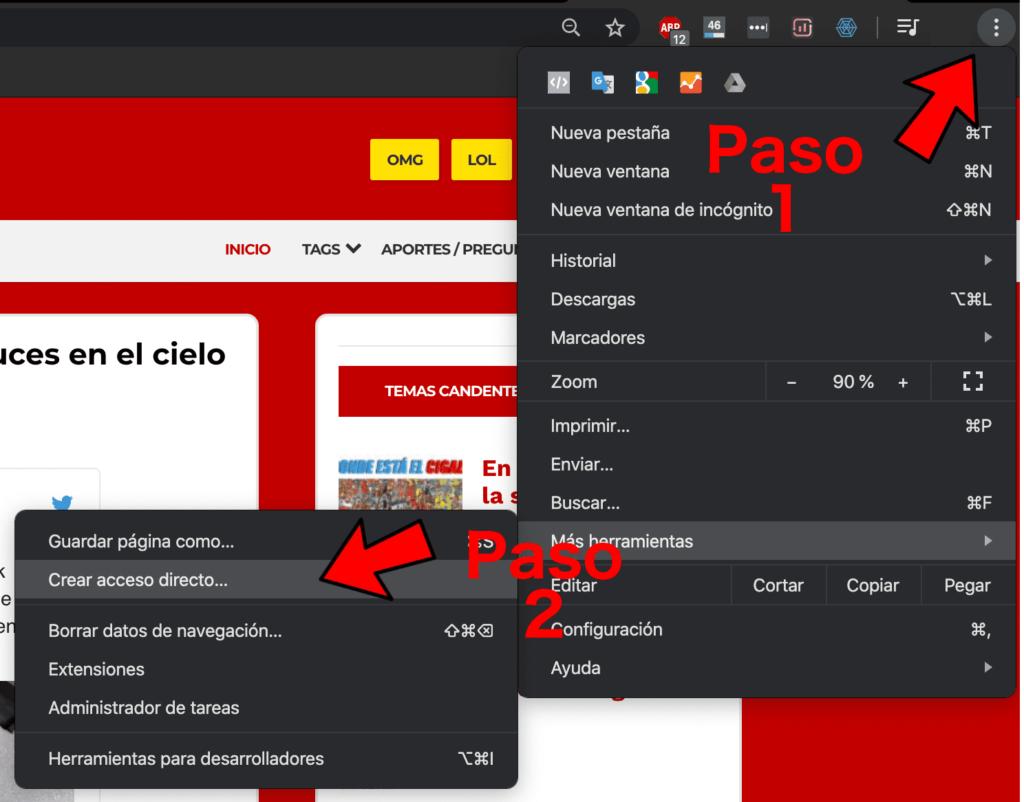Hacer un acceso directo de una página web desde Chrome