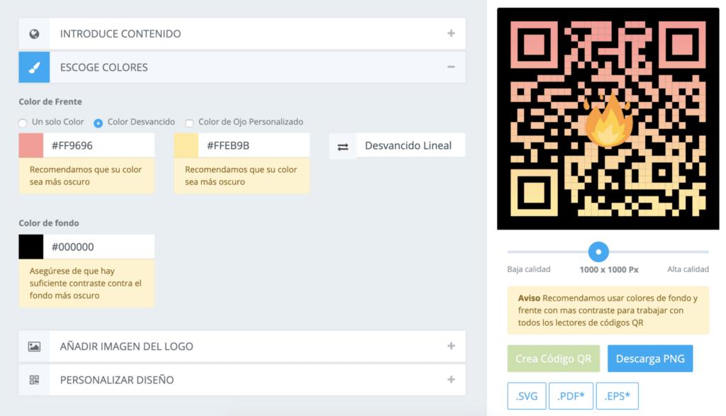 opciones de personalizacion en codigo qr