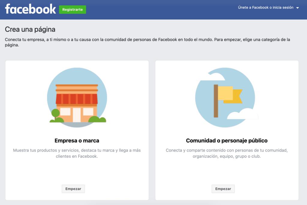 elegir que tipo de pagina de facebook crear