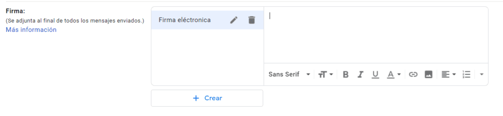 signatura gmail electrónica escritura