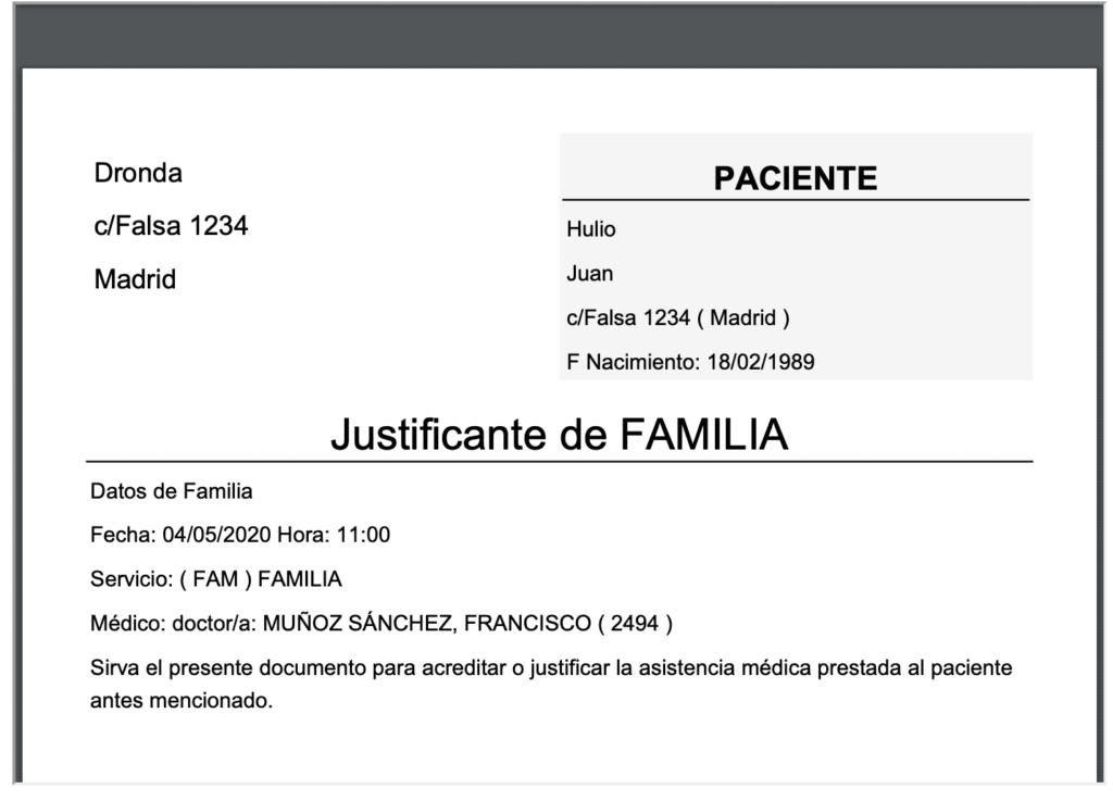 pdf con el justificante medico falso